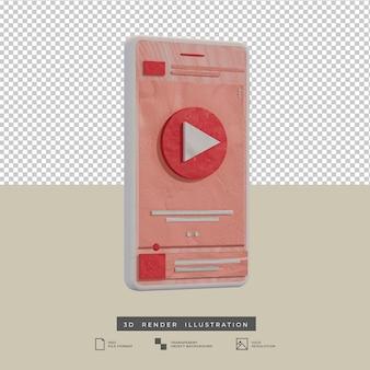 Ilustración 3d de la vista lateral del diseño de la aplicación de la música del tema del rosa del estilo de la arcilla