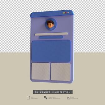 Ilustración 3d de vista lateral de diseño de aplicaciones de perfil de redes sociales de estilo arcilla