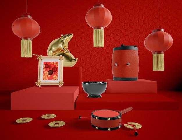 Ilustración del año nuevo chino con elementos tradicionales