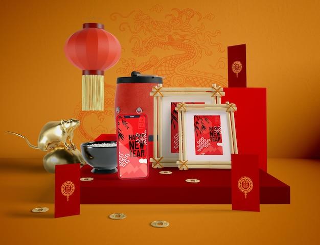 Ilustración del año nuevo chino con maqueta