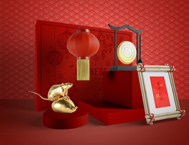 Ilustración del año nuevo chino con una rata dorada
