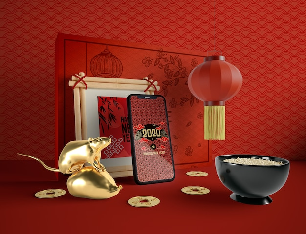 Ilustración del año nuevo chino con teléfono y un tazón de arroz
