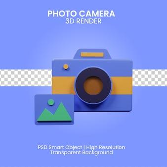 Ilustración de cámara de fotos 3d aislada