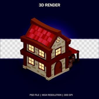 Ilustración de casa con vista isométrica y fondo transparente en diseño 3d