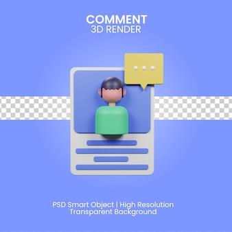 Ilustración de comentario 3d aislado