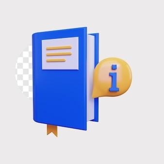 Ilustración de concepto de icono de información de libro 3d