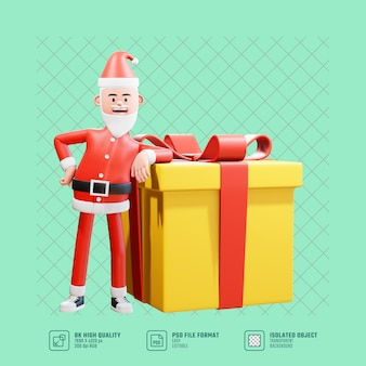 Ilustración del concepto de navidad. 3d papá noel se inclina hacia atrás en una gran caja de regalo de navidad para una sorpresa