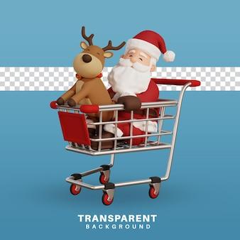 Ilustración de concepto de navidad de render 3d santa con gráfico de compras