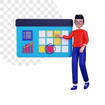 Ilustración de concepto de proyecto de organización 3d
