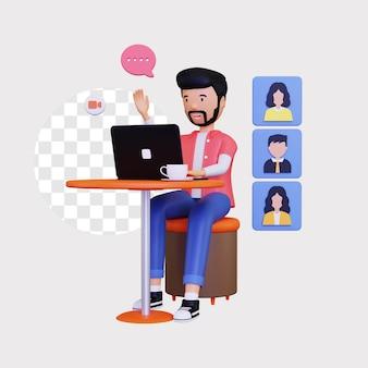 Ilustración de concepto de video de grupo en línea 3d