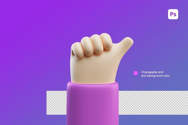 Ilustración de dibujos animados de mano 3d atención pulgares arriba gesto