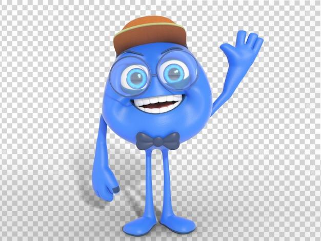 Ilustración divertida de la mascota del carácter 3d con el fondo transparente