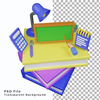 Ilustración de la escuela de elementos 3d de alta calidad