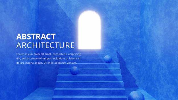 Ilustración de fondo de arquitectura abstracta, renderizado 3d
