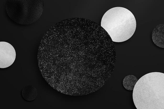 Ilustración de fondo de patrón redondo negro y plateado reluciente