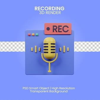 Ilustración de grabación 3d aislada
