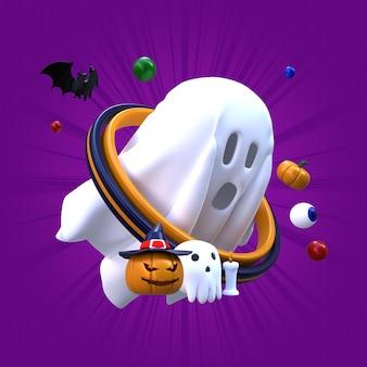 Ilustración de halloween fantasma de renderizado 3d