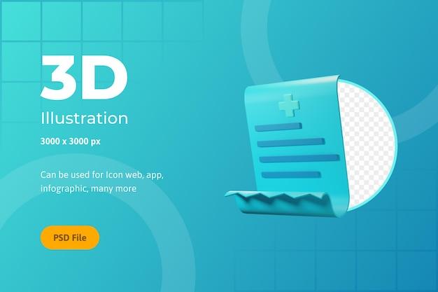 Ilustración de icono 3d, atención médica, pago del destinatario, para web, aplicación, infografía