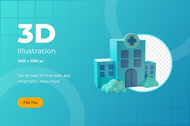 Ilustración de icono 3d, salud, hospital, para web, aplicación, infografía