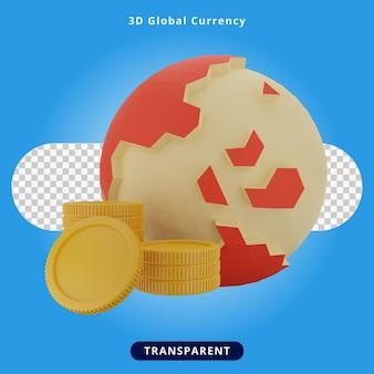 Ilustración de moneda global de renderizado 3d