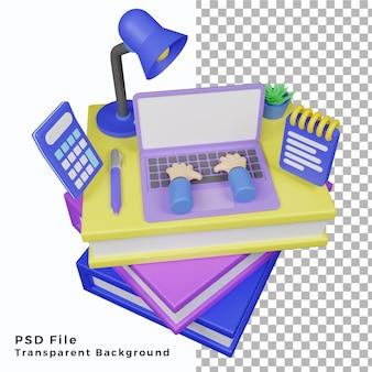 Ilustración de oficina o escuela de artículo 3d de alta calidad