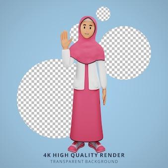 Ilustración de personaje 3d de manos de onda de niña musulmana joven
