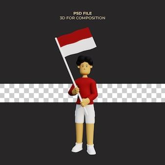 Ilustración de personaje de dibujos animados en 3d día de la independencia con la bandera de indonesia premium psd