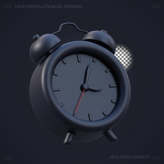 Ilustración de reloj despertador negro de renderizado 3d