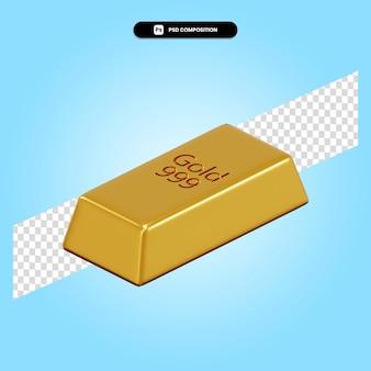Ilustración de render 3d de barra de oro aislado