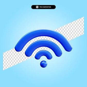 Ilustración de render 3d de conexión wifi aislado