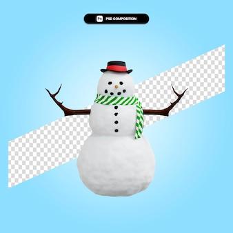Ilustración de render 3d de navidad de muñeco de nieve aislado