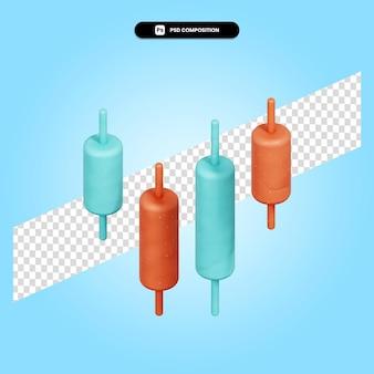 Ilustración de render 3d de palitos de vela aislado
