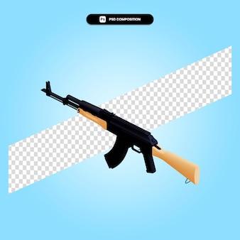 Ilustración de render 3d de rifle de asalto aislado