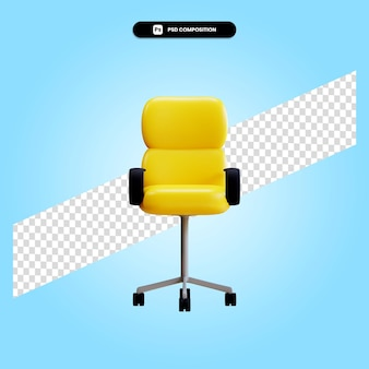 Ilustración de render 3d de silla de oficina moderna aislada