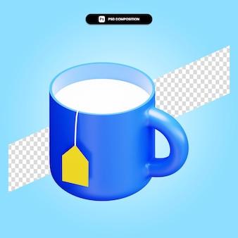 Ilustración de render 3d de taza de té aislado