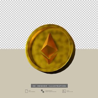 Ilustración de render 3d vista frontal de moneda ethereum