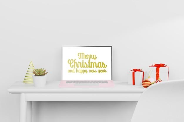 Ilustración de renderizado 3d de maqueta de computadora portátil en tema de año nuevo de navidad