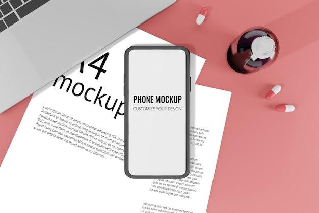 Ilustración de renderizado 3d maqueta de teléfono móvil