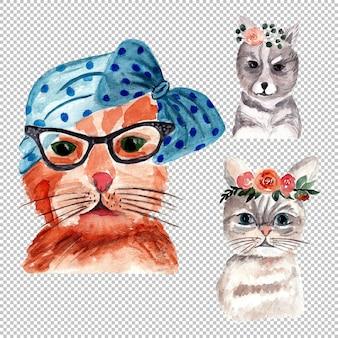 Ilustración de retrato de gato en acuarela