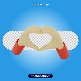 Ilustración de signo de amor de renderizado 3d