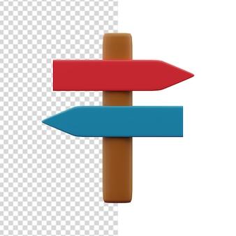 Ilustración de signo de carretera 3d. icono de signo de carretera 3d.