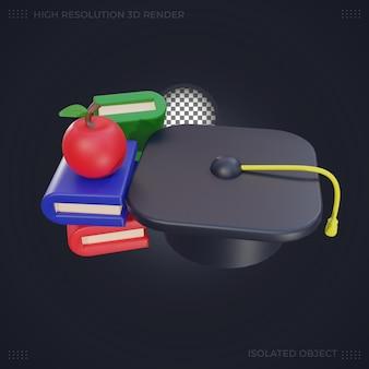 Ilustración de sombrero de graduación y libro de renderizado 3d