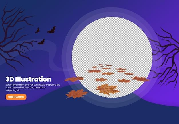 Ilustración de tema de hoja seca de halloween 3d