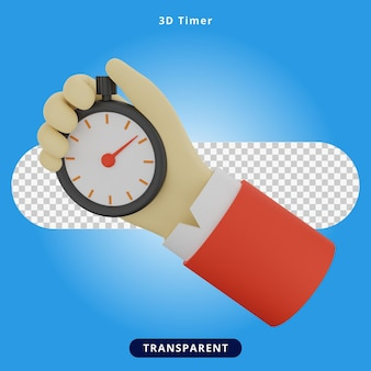 Ilustración de temporizador de explotación de mano de renderizado 3d