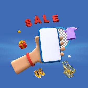 Ilustración de venta de renderizado 3d con mano sosteniendo smartphone
