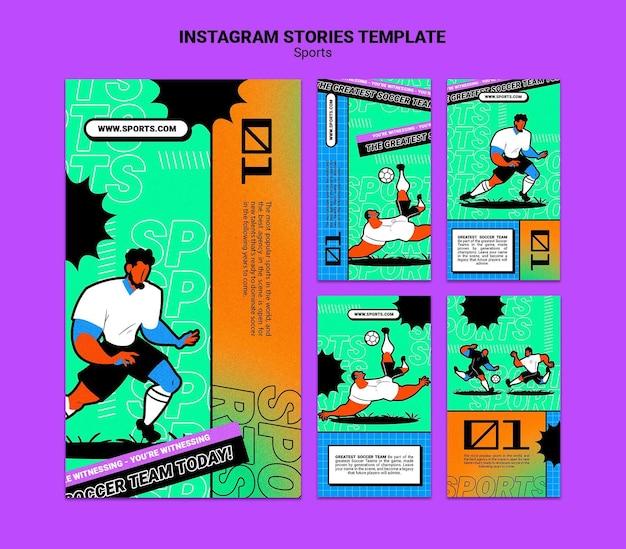 Ilustración vibrante plantilla de fútbol historia de instagram
