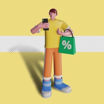 Las ilustraciones 3d de gente feliz están comprando en la tienda.