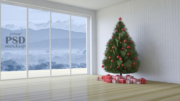 Imagen 3d de diseño de interiores en festival de navidad