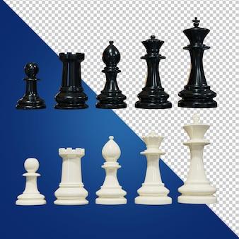 Imagen aislada de representación 3d de ajedrez