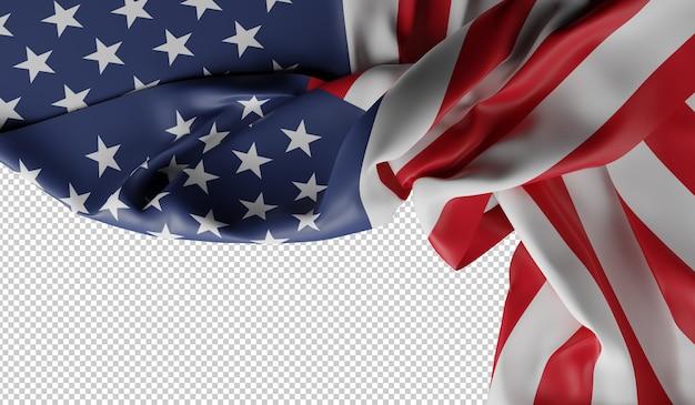 Imagen de la bandera americana. 4 de julio, renderizado 3d